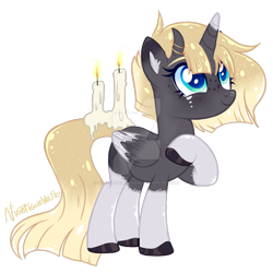 Size: 1920x1920 | Tagged: safe, artist:lazuli, artist:nightingalewolfie, oc, oc only, original species, pony, scented pony, unicorn, base used, candle, colored pupils, deviantart watermark, female, horns, mare, obtrusive watermark, simple background, solo, transparent background, watermark