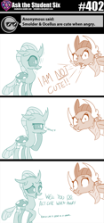 Size: 800x1706 | Tagged: safe, artist:sintakhra, ocellus, smolder, changedling, changeling, dragon, tumblr:studentsix, :t, angry, bandana, blatant lies, cute, diaocelles, dragoness, fake cutie mark, female, i'm not cute, looking at you, madorable, post-it, puffy cheeks, smolder is not amused, smolderbetes, smoldere, speaker, tsundere, unamused