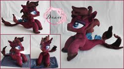 Size: 2500x1394 | Tagged: safe, artist:dixierarity, pony, seapony (g4), blanket, bring me the horizon, commission, facial hair, fins, fish tail, handmade, irl, jordan fish, lidded eyes, male, photo, plushie, ponified