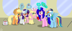Size: 4912x2112 | Tagged: safe, artist:lumi-infinite64, applejack, fluttershy, rainbow dash, rarity, oc, alicorn, earth pony, pegasus, pony, unicorn, brush, contact lens, fake blood, solo