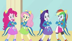 Size: 1280x738 | Tagged: safe, screencap, fluttershy, pinkie pie, rainbow dash, rarity, equestria girls, equestria girls (movie), cafeteria, clothes, equestria girls movie, fake ears, fake tail, helping twilight win the crown, sweater, wondercolt ears