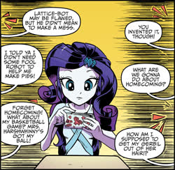 Size: 2000x1952 | Tagged: safe, artist:pencils, idw, rarity, equestria girls, spoiler:comic, spoiler:comicequestriagirlsmarchradness, abstract background, cellphone, offscreen character, phone, smartphone