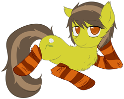 Size: 956x764 | Tagged: safe, artist:homumu, oc, oc only, earth pony, pony, chest fluff, clothes, draw me like one of your french girls, earth pony oc, simple background, socks, solo, striped socks, transparent background
