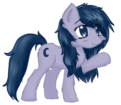Size: 934x810 | Tagged: safe, artist:homumu, oc, oc only, oc:crescent moon, earth pony, pony, chest fluff, ear fluff, earth pony oc, female, mare, raised hoof, simple background, smiling, solo, transparent background