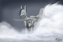 Size: 1500x1000 | Tagged: safe, artist:andromailus, oc, ghost, original species, plane pony, pony, undead, looking at you, looking back, p-51 mustang, plane, simple background, smoke, solo