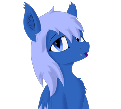 Size: 2000x1800 | Tagged: safe, artist:thekamko, derpibooru exclusive, oc, oc only, oc:kamko blueblood, bat pony, dracony, dragon, hybrid, pony, bust, fangs, mlem, silly, simple background, smiley face, solo, tongue out, transparent background, two toned wings, wings