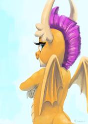 Size: 3508x4960 | Tagged: safe, artist:toisanemoif, smolder, dragon, dragoness, facing away, female, horns, looking at you, looking back, looking back at you, solo, wings