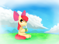 Size: 1700x1286 | Tagged: safe, artist:cartoonboyplz, apple bloom, pony, adorabloom, cloud, cute, juice, juice box, looking at you, sitting