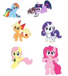 Size: 2800x3150 | Tagged: safe, artist:smittyg, applejack, fluttershy, pinkie pie, rainbow dash, rarity, smarty pants, twilight sparkle, earth pony, pegasus, pony, unicorn, apple, belly button, bipedal, bow, clothes, cute, drinking, female, food, freckles, fur, goggles, hair bow, juice, juice box, looking at you, mane six, quill, simple background, tail bow, tongue out, transparent background, weapons-grade cute, younger
