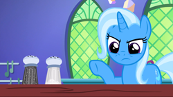 Size: 1920x1080 | Tagged: safe, screencap, trixie, pony, unicorn, all bottled up, cute, female, frown, frustrated, incompetence, kitchen, mare, pointing, raised hoof, salt and pepper shakers, solo, trixie is not amused, twilight's castle, unamused