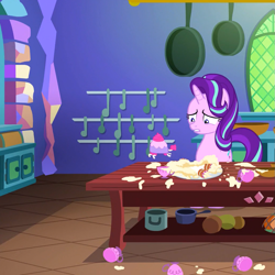 Size: 1029x1029 | Tagged: safe, screencap, teacup poodle, pony, unicorn, all bottled up, cropped, kitchen, solo, twilight's castle