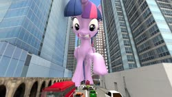Size: 1920x1080   Tagged: safe, artist:jeroen01, twilight sparkle, alicorn, pony, 3d, 3d model, attack on twi-tan, building, car, city, female, giant pony, giantess, looking down, macro, mare, police car, raised hoof, shocked, twilight sparkle (alicorn), twizilla, vehicle
