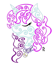 Size: 1600x1883 | Tagged: safe, artist:dawn-designs-art, oc, oc:blooming corals, pony, unicorn, abstract, abstract art, blue coat, digital art, jewelry, modern art, necklace, purple mane, solo