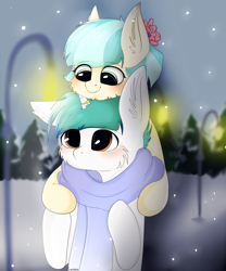 Size: 2500x3000 | Tagged: safe, artist:businka, coco pommel, oc, oc:snowy blue, earth pony, unicorn, blushing, canon x oc, clothes, cocobetes, cocowy, complex background, cute, ear fluff, female, flower, flower in hair, horn, horn ring, light post, male, ocbetes, scarf, snow, snowfall, tree, ych result