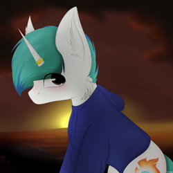 Size: 3000x3000 | Tagged: safe, artist:businka, oc, oc:snowy blue, unicorn, blushing, clothes, complex background, cute, cutie mark, ear fluff, fluffy, hoodie, horn, horn ring, looking at you, male, ocbetes, sunset