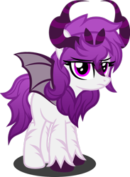 Size: 1280x1746 | Tagged: safe, artist:fletcherthehuntress, oc, oc:zynne, pony, bat wings, female, horns, simple background, solo, transparent background, wings