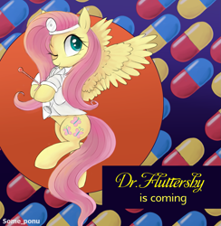 Size: 1297x1331 | Tagged: safe, artist:some_ponu, fluttershy, pegasus, pony, cute, doctor, doctor fluttershy, dr. mario, female, hoof hold, hooves to the chest, looking at you, mare, one eye closed, shyabetes, solo, spread wings, stethoscope, thermometer, three quarter view, wings, wink, winking at you