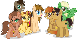 Size: 7852x4000 | Tagged: safe, artist:peahead, oc, oc only, oc:cherry lights, oc:data wave, oc:firegold lust, oc:kathrine, oc:paper trail, oc:stellar winds, earth pony, pegasus, pony, unicorn, absurd resolution, bedroom eyes, earth pony oc, female, folded wings, grin, group, group photo, group shot, happy, horn, lidded eyes, looking at you, male, mare, pegasus oc, simple background, smiling, smiling at you, spread wings, stallion, transparent background, unamed oc, unicorn oc, vector, wings