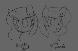 Size: 1151x751   Tagged: safe, artist:lockheart, pony, bust, female, mare, monochrome, portrait, right hand and left hand challenge, simple background, sketch