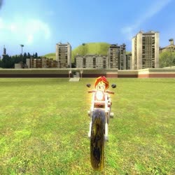 Size: 512x512 | Tagged: artist needed, safe, sunset shimmer, equestria girls, 3d, female, gmod, grass, motorcycle, sky, solo