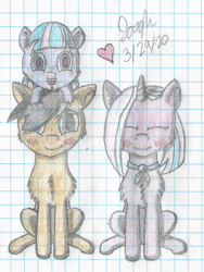 Size: 1506x2000 | Tagged: safe, artist:mlplayer dudez, clear sky, quibble pants, wind sprint, earth pony, pegasus, pony, unicorn, blushing, cel shading, chest fluff, colored, cute, ear fluff, eyes closed, female, filly, graph paper, happy, looking at you, male, mare, quibblesky, shading, shipping, sitting, smiling, stallion, straight, traditional art, trio
