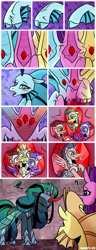 Size: 1500x3900 | Tagged: safe, artist:nancy-05, adagio dazzle, aria blaze, sonata dusk, oc, oc:empress sacer malum, alicorn, changeling, changeling queen, ghost, ghost pony, siren, umbrum, comic:fusing the fusions, comic:time of the fusions, alicorn oc, alicornified, argument, blushing, chest, comic, commissioner:bigonionbean, confusion, conjoined, dazed, dialogue, dungeon, evil planning in progress, female, forced, fused, fusion, fusion:empress sacer malum, gem, heat, jewelry, magic, merge, multiple heads, nightmare, panting, prison, race swap, random pony, regalia, royal guard, shocked, siren gem, spell, tartarus, three heads, we have become one, writer:bigonionbean