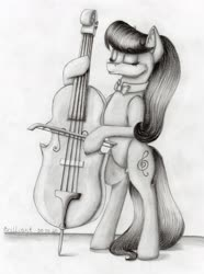 Size: 2264x3041 | Tagged: safe, artist:brilliant-luna, octavia melody, pony, bowtie, cello, clothes, female, grayscale, monochrome, musical instrument, solo, traditional art