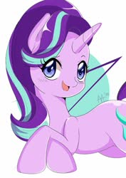 Size: 873x1234 | Tagged: safe, artist:shelltoon, starlight glimmer, pony, unicorn, cute, female, looking at you, lying down, mare, open mouth, raised eyebrow, smiling