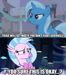 Size: 1280x1440 | Tagged: safe, edit, edited screencap, editor:jaredking203, screencap, silverstream, trixie, student counsel, what lies beneath, spoiler:s09e11, caption, image macro, meme, text