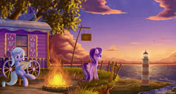 Size: 3000x1600 | Tagged: safe, artist:emeraldgalaxy, starlight glimmer, trixie, bird, pony, unicorn, bottle, campfire, cloud, duo, female, fence, fire, grass, lighthouse, mare, newspaper, ocean, ponies sitting like humans, reading, scenery, scenery porn, sky, standing, stars, sunset, tree, trixie's wagon