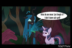 Size: 640x426 | Tagged: safe, edit, edited screencap, editor:teren rogriss, screencap, mean twilight sparkle, queen chrysalis, alicorn, changeling, changeling queen, pony, the mean 6, female, forest