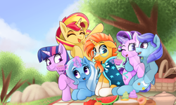 Size: 5000x3000 | Tagged: safe, artist:rivin177, starlight glimmer, sunburst, sunset shimmer, trixie, twilight sparkle, oc, pegasus, pony, unicorn, basket, commission, cup, food, picnic, picnic basket, sunny siblings, tea, teacup, watermelon