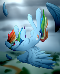 Size: 1000x1240 | Tagged: safe, artist:dreamy, artist:littledreamycat, rainbow dash, pegasus, pony, backwards cutie mark, crying, falling, fanfic, feather, female, mare, smiling, solo, spread wings, story included, wings