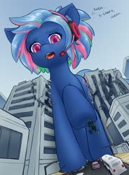 Size: 1352x1838 | Tagged: safe, artist:alloyrabbit, oc, oc only, oc:bit rate, pony, city, destruction, headset, macro