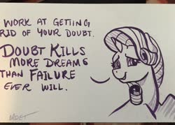 Size: 2048x1463 | Tagged: safe, artist:cadetredshirt, rarity, pony, unicorn, eyeshadow, horn, ink drawing, inspirational, makeup, monochrome, paper, photo, positive ponies, simple background, simple shading, solo, text, traditional art, truth