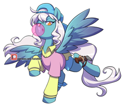 Size: 2456x2048 | Tagged: safe, artist:norithecat, oc, oc only, oc:ice, pegasus, pony, backwards ballcap, baseball cap, bubblegum, cap, clothes, commission, cute, digital, female, food, fullbody, gum, hat, ice, looking at you, mare, patreon, patreon logo, sai, shirt, simple background, solo, spread wings, watermark, white background, wings