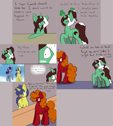 Size: 2562x2860 | Tagged: safe, artist:kaggy009, comet tail, oc, oc:mama j, oc:peppermint pattie (unicorn), earth pony, pony, unicorn, ask peppermint pattie, female, mare