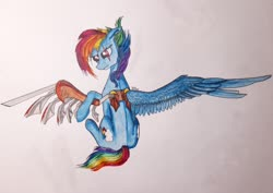 Size: 2560x1808 | Tagged: safe, artist:rainbowmoron, rainbow dash, pony, amputee, artificial wings, augmented, prosthetic limb, prosthetic wing, prosthetics, solo, traditional art, wings