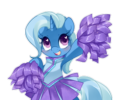 Size: 1226x1000 | Tagged: safe, artist:loyaldis, trixie, pony, unicorn, bipedal, blushing, cheerleader, cheerleader outfit, clothes, cute, diatrixes, female, heart eyes, hoof hold, mare, open mouth, pom pom, simple background, skirt, solo, transparent background, wingding eyes