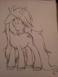 Size: 960x1280 | Tagged: safe, artist:homumu, oc, oc only, oc:andromeda, pony, unicorn, female, hair over one eye, horn, lineart, mare, messy mane, simple background, solo, traditional art, unicorn oc, unshorn fetlocks