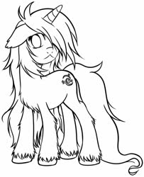 Size: 1038x1280 | Tagged: safe, artist:homumu, oc, oc only, oc:andromeda, pony, unicorn, female, hair over one eye, horn, lineart, mare, messy mane, simple background, solo, unicorn oc, unshorn fetlocks, white background