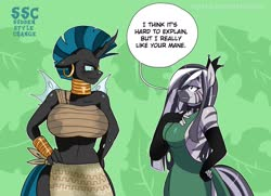 Size: 2460x1784 | Tagged: safe, artist:traupa, queen chrysalis, zecora, changeling, changeling queen, zebra, anthro, alternate hairstyle, backless, big breasts, breasts, busty queen chrysalis, busty zecora, clothes, clothes swap, ear piercing, evening, evening gloves, female, fingerless elbow gloves, fingerless gloves, gloves, hair over one eye, huge breasts, long gloves, mane swap, midriff, neck rings, piercing, roleplaying, sexy, side slit, sideboob, sudden style change, total sideslit, wide hips