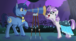 Size: 14685x8006 | Tagged: safe, artist:faitheverlasting, night light, twilight velvet, pony, unicorn, absurd file size, absurd resolution, clothes, dress, female, gala dress, grand galloping gala, headcanon, male, nightvelvet, prank, shipping, straight, telescope, tongue out
