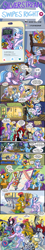 Size: 812x4500 | Tagged: safe, artist:lytlethelemur, applejack, discord, flower bouquet, gallus, ocellus, rarity, silverstream, smolder, snips, twilight sparkle, oc, alicorn, changedling, changeling, dragon, fish, griffon, kirin, nirik, anchor, barrel, bed, cellphone, eating, funeral, hat, lipstick, phone, quill, smartphone, tongue out, twilight sparkle (alicorn), white coat