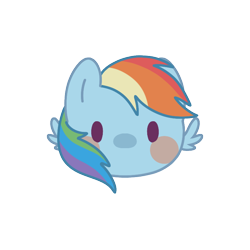 Size: 800x800 | Tagged: safe, artist:mya3332, rainbow dash, pegasus, pony, beady eyes, blush sticker, blushing, bust, chibi, cute, dashabetes, head only, looking at you, portrait, simple background, solo, transparent background