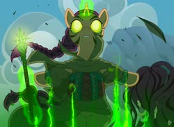 Size: 3750x2750 | Tagged: safe, artist:amaraburrger, pony, unicorn, cloak, clothes, cloud, facial markings, female, glowing eyes, magic, magic the gathering, nissa revane, planeswalker, ponified, solo, staff