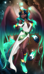 Size: 2850x4750 | Tagged: safe, artist:mykegreywolf, oc, oc only, oc:solstice (astralmelodia), alicorn, anthro, unguligrade anthro, absolute cleavage, alicorn oc, anthro oc, breasts, cleavage, clothes, commission, female, high res, looking at you, mare, solo, unshorn fetlocks