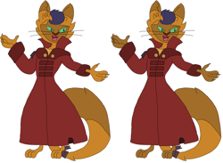 Size: 4416x3224 | Tagged: safe, artist:hubfanlover678, capper dapperpaws, abyssinian, anthro, clothes, coat, male, simple background, solo, white background