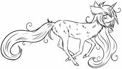 Size: 1280x724   Tagged: safe, artist:homumu, oc, oc only, oc:andromeda, pony, unicorn, chest fluff, ear fluff, female, horn, lineart, messy mane, monochrome, running, solo, unicorn oc