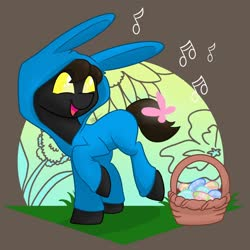 Size: 1280x1280 | Tagged: safe, artist:cadetredshirt, oc, oc:belmontwaltz, butterfly, changeling, earth pony, pony, basket, changeling oc, commission, easter, easter basket, easter egg, holiday, solo, ych result, your character here